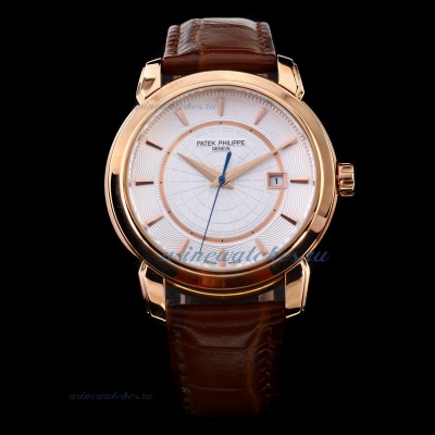 Replica Patek Philippe Classic Rose Gold Case White Dial with Stick Marking-Leather Strap online