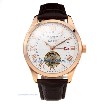 Replica Patek Philippe Automatic Tourbillon Rose Gold Case with White Dial Leather Strap-1 online