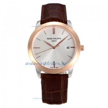 Replica Patek Philippe Classic Rose Gold Case with White Dial Sapphire Glass online