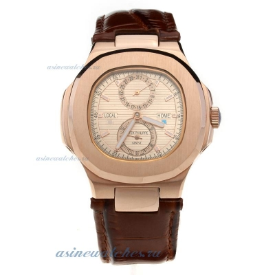 Replica Patek Philippe Nautilus Automatic Rose Gold Case with Champagne Dial-Leather Strap online