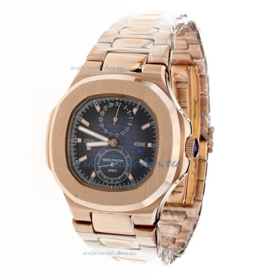Replica Patek Philippe Nautilus Automatic Full Rose Gold with Blue Dial-1 online