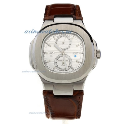 Replica Patek Philippe Nautilus Automatic with Silver Dial-Leather Strap online