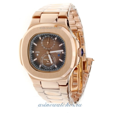 Replica Patek Philippe Nautilus Automatic Full Rose Gold with Brown Dial-2 online