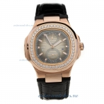 Replica Patek Philippe Nautilus Automatic Rose Gold Case Diamond Bezel with Gray Dial-Leather Strap
