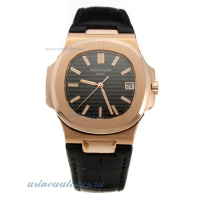 Replica Patek Philippe Nautilus MIYOTA 9015 Automatic Movement Rose Gold Case with Black Dial-Leathe