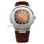 Replica Patek Philippe Nautilus Automatic Brown Dial with Leather Strap-18K Plated Gold Movement onl