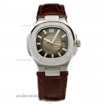 Replica Patek Philippe Nautilus Diamond Bezel Dark Gray Dial with Leather Strap-Lady Size online