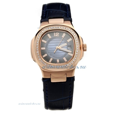 Replica Patek Philippe Nautilus Rose Gold Case Diamond Bezel Blue Dial with Leather Strap-Lady Size