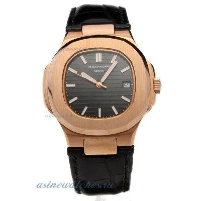 Replica Patek Philippe Nautilus Automatic Rose Gold Case Black Dial with Leather Strap-18K Plated Go