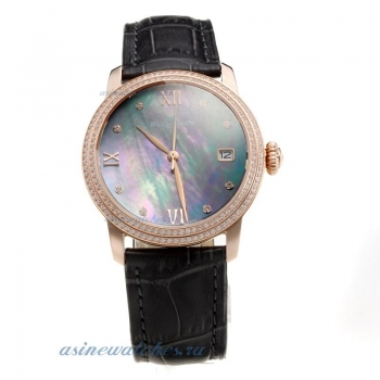 Blancpain Rose Gold Case Diamond Bezel with Black MOP Dial-Black Leather Strap on sale