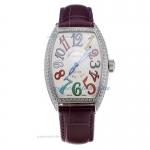Cheap designer Franck Muller Casablanca Automatic Diamond Bezel with White Dial-Purple Leather Strap
