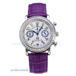 Cheap designer Frank Muller Master Square Working Chronograph Diamond Bezel with White Dial-Purple L