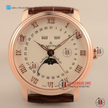 Cheap BlancPain Villeret Moonphase & Complete Calendar 9015 Auto Rose Gold Case with Brown Leather For Sale (AAAF)