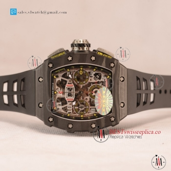 Richard Mille RM 11-03 Carbon Case With Chronograph 1:1 Clone Black Dial Black Rubber Strap