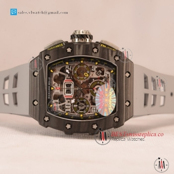 Richard Mille RM 11-03 Carbon Case With Chronograph 1:1 Clone Black Dial Grey Rubber Strap