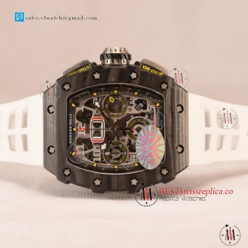 Richard Mille RM 11-03 Carbon Case With Chronograph 1:1 Clone Black Dial White Rubber Strap