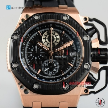 Cheap Audemars Piguet Royal Oak Offshore Survivor Miyota OS20 Quartz Chronograph Black Ceramic Bezel Rose Gold Case with Black Dial For Sale (EF)