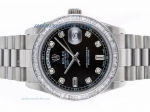 Discount Rolex Day-Date Swiss ETA 2836 Movement CZ Diamond Bezel with Black Dial
