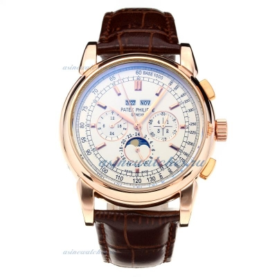 Replica Patek Philippe Perpetual Calendar Automatic Rose Gold Case with White Dial-Leather Strap-Sti