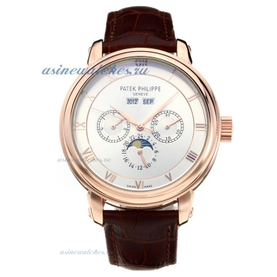 Replica Patek Philippe Perpetual Calendar Automatic Rose Gold Case with White Dial-Leather Strap-2 o