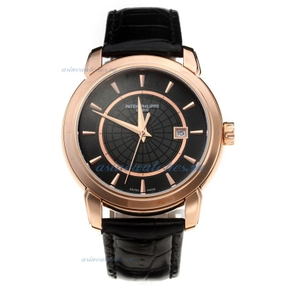 Replica Patek Philippe Classic Rose Gold Case with Black Dial-Leather Strap online