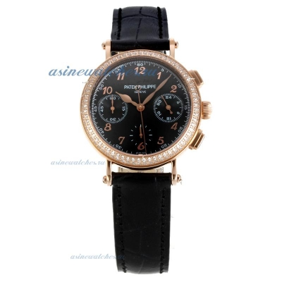 Replica Patek Philippe Classic Working Chronograph Diamond Bezel Rose Gold Case with Black Dial Blac