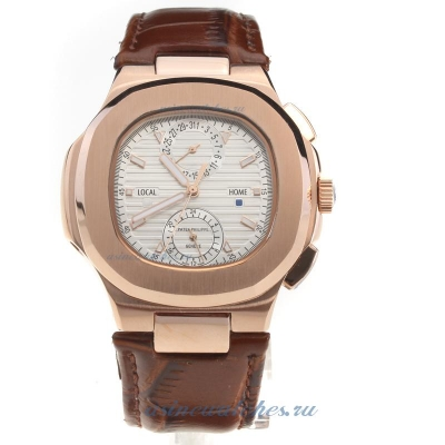 Replica Patek Philippe Nautilus Rose Gold Case with Silver Dial-Leather Strap online