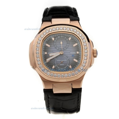Replica Patek Philippe Nautilus Automatic Rose Gold Case Diamond Bezel with Blue Dial-Leather Strap