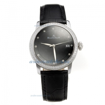 Blancpain Diamond Bezel with Black Dial-Black Leather Strap on sale