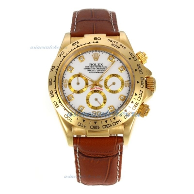 Discount Rolex Daytona Automatic 18K Gold Plated Case with White Dial sale