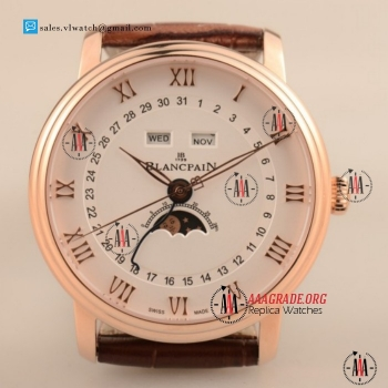 Cheap BlancPain Villeret Moonphase & Complete Calendar 9015 Auto Rose Gold Case with White Dial For Sale (AAAF)