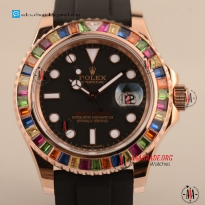 Cheap Rolex Yacht-Master 40 Asia Auto Rose Gold Case with Black Dial For Sale (BP)
