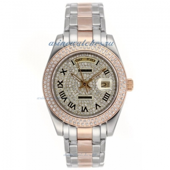 Cheap replica Rolex Masterpiece II Automatic Two Tone Roman Markers with Diamond Bezel and Dial onli