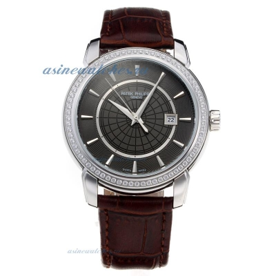 Replica Patek Philippe Diamond Bezel with Black Dial-Leather Strap-1 online