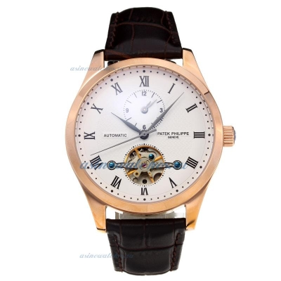 Replica Patek Philippe Automatic Tourbillon Two Time Zone Rose Gold Case with White Dial Leather Str