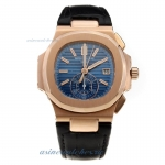 Replica Patek Philippe Nautilus Swiss Valjoux 7750 Movement Rose Gold Case with Blue Dial-Leather St