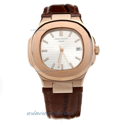 Replica Patek Philippe Nautilus Automatic Rose Gold Case Silver Dial with Leather Strap-18K Plated G