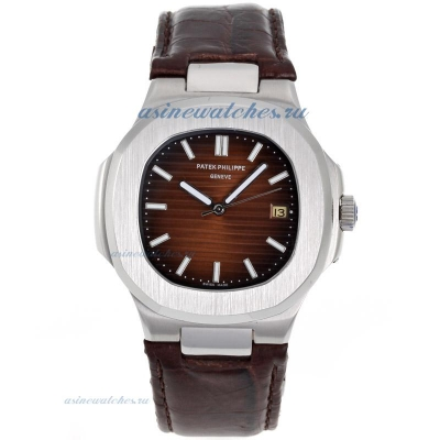 Replica Patek Philippe Nautilus Automatic with Brown Dial Leather Strap online
