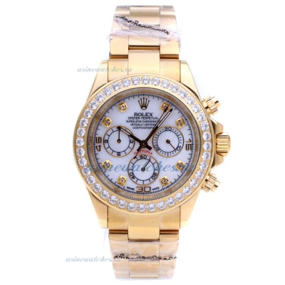 Discount Rolex Daytona Automatic Full Gold with Diamond Bezel-MOP Dial sale