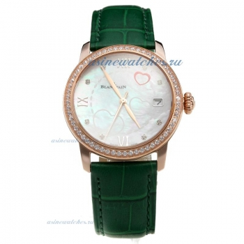 Blancpain Rose Gold Case Diamond Bezel with White Dial-Green Leather Strap on sale