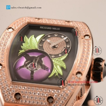 Richard Mille RM19-02 Tourbillon Fleur 9015 Auto Rose Gold Case with Black Dial For Sale