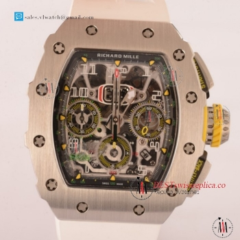 Richard Mille RM11-03 Swiss Valjoux 7750 Auto Steel Case With White Rubber Strap For Sale - (KV)