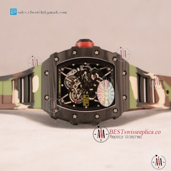 1:1 Richard Mille RM35-01 Japanese Miyota 9015 Auto Carbon Fiber Case With Skeleton Dial For Sale - (KV)