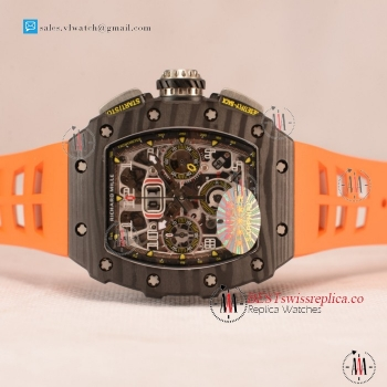 Richard Mille RM 11-03 Carbon Case With Chronograph 1:1 Clone Black Dial Orange Rubber Strap