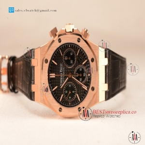 Audemars Piguet Royal Oak Chrono Rose Gold Case With Black Dial Clone AP3126 Automatic Black Leather