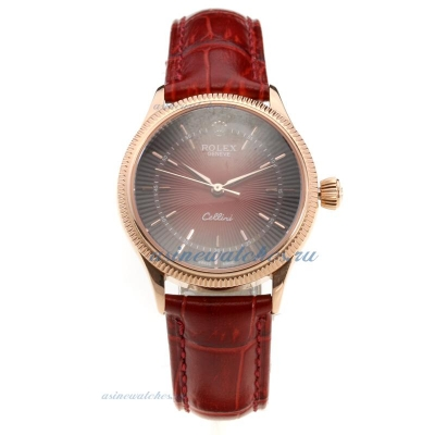 Cheap replica Rolex Cellini Rose Gold Case Red Dial with Red Leather Strap-Lady Size online