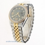 Rolex Datejust Swiss ETA 2836 Movement Two Tone Diamond Bezel and Markers with Green Dial-Same Chass