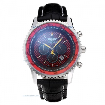 Cheap replica Breitling Chronospace Working Chronograph with Red Dial Leather Strap online sale