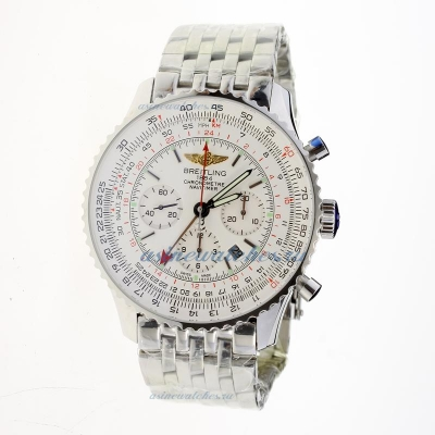 Cheap replica Breitling Navitimer Working GMT Chronograph Asia 7751 Movement with White Dial S/S