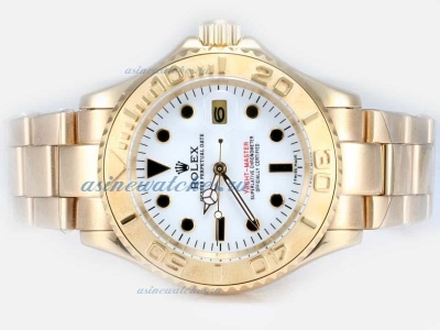 Cheap replica Rolex Yacht-Master Automatic Full Gold with White Dial 1 sale in this store!